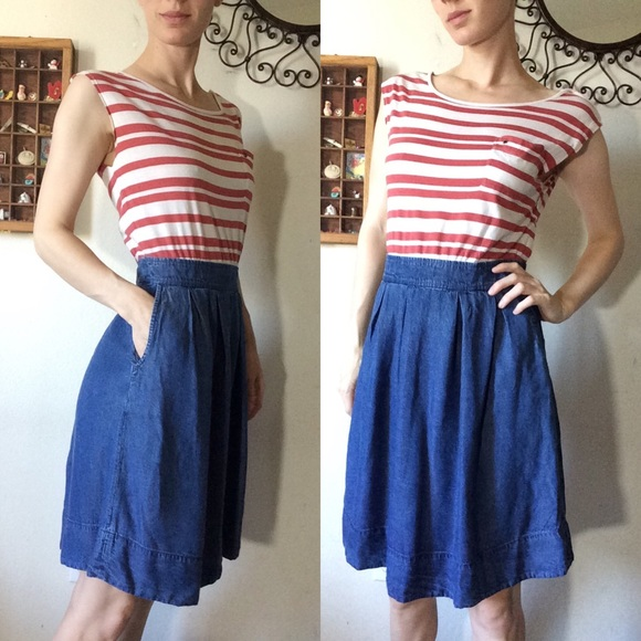 Anthropologie Dresses & Skirts - Odille Anthropologie Red White Blue Chambray Dress